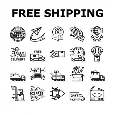 Free Shipping Service Collection Icons Set Vector. Delivery Boy And Truck, Aircraft Worldwide Free Shipping And Warehouse Storage Black Contour Illustrations icon