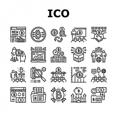 Ico Initial Coin Offer Collection Icons Set Vector. Ico Platform And Successful Start, Presentation And Investing, Development And Cryptocurrency Black Contour Illustrations icon