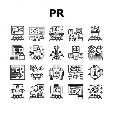 Pr Public Relations Collection Icons Set Vector. Pr Strategy And Events, Interview And Press Release, Meeting And Responses To Media Inquiries Black Contour Illustrations icon