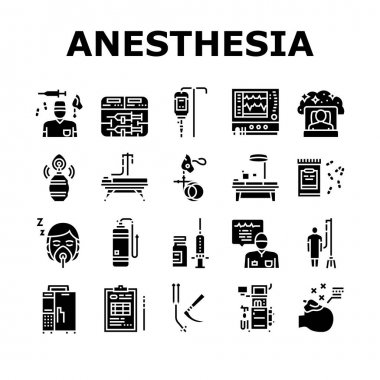Anesthesiologist Tool Collection Icons Set Vector. Syringe Pump, Anesthesia Machine And Heart Rate Monitor Anesthesiologist Equipment Glyph Pictograms Black Illustrations icon