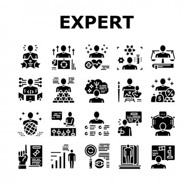 Expert Human Skills Collection Icons Set Vector. Universal And Business Expert, Lawyer And Economic, Technical And Social, Art And Medical Glyph Pictograms Black Illustrations icon