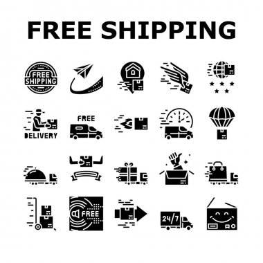 Free Shipping Service Collection Icons Set Vector. Delivery Boy And Truck, Aircraft Worldwide Free Shipping And Warehouse Storage Glyph Pictograms Black Illustrations icon