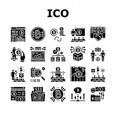 Ico Initial Coin Offer Collection Icons Set Vector. Ico Platform And Successful Start, Presentation And Investing, Development And Cryptocurrency Glyph Pictograms Black Illustrations icon