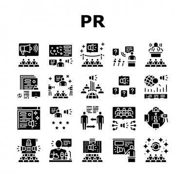 Pr Public Relations Collection Icons Set Vector. Pr Strategy And Events, Interview And Press Release, Meeting And Responses To Media Inquiries Glyph Pictograms Black Illustrations icon