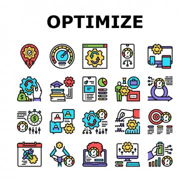 Optimize Operations Collection Icons Set Vector. Optimize Internet Speed And Electronics, Smartphone And Computer, Education And Work Concept Linear Pictograms. Contour Color Illustrations icon