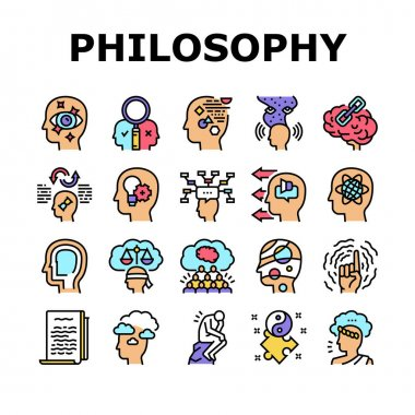 Philosophy Science Collection Icons Set Vector. Social Philosophy And Logic, Aesthetics And Ethics, Metaphilosophy And Epistemology Concept Linear Pictograms. Contour Color Illustrations icon