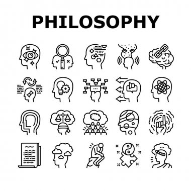 Philosophy Science Collection Icons Set Vector. Social Philosophy And Logic, Aesthetics And Ethics, Metaphilosophy And Epistemology Black Contour Illustrations icon