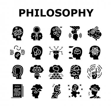 Philosophy Science Collection Icons Set Vector. Social Philosophy And Logic, Aesthetics And Ethics, Metaphilosophy And Epistemology Glyph Pictograms Black Illustrations icon