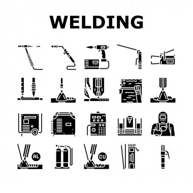 Welding Machine Tool Collection Icons Set Vector. Welding Equipment And Electrodes, Manual Arc And Plasma, Electroslag And Spot Glyph Pictograms Black Illustrations icon