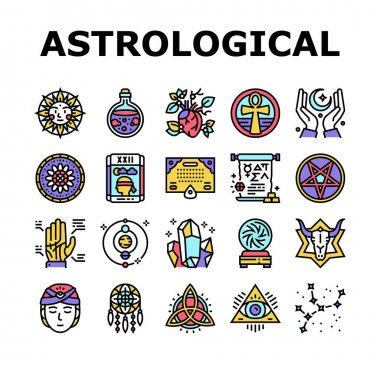 Astrological Objects Collection Icons Set Vector. Crystals And Ball, Love Potion And Tarot Cards, Sun Occult Symbol And Mystical Ornament Concept Linear Pictograms. Contour Illustrations icon