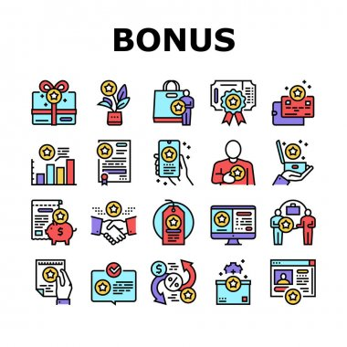 Bonus Present Of Sales Collection Icons Set Vector. Bonus Gift Box For Customer And Card, Contract And Flyer, Label Sale And Online Phone Application Concept Linear Pictograms. Contour Illustrations icon