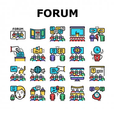 Forum People Meeting Collection Icons Set Vector. International And Business Online Forum, Public Debate And Hearing, Disputes And Vote, Concept Linear Pictograms. Contour Illustrations icon