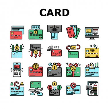 Plastic Card Payment Collection Icons Set Vector. Contactless Nfc System Credit Card And Withdrawal, Pin Code Protection And Transfer Concept Linear Pictograms. Contour Illustrations icon