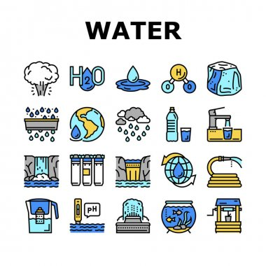 Water Purification Collection Icons Set Vector. Filter And Purifying Equipment, Bottle And Cup, Ocean And Sea Water, World Renewal And Aquarium Concept Linear Pictograms. Contour Illustrations icon