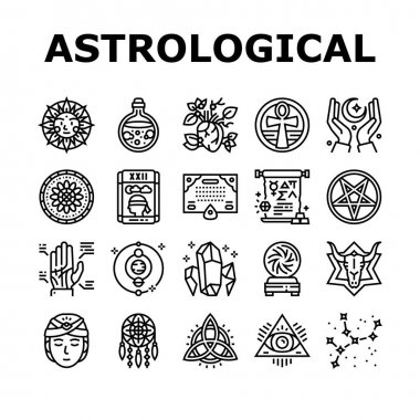 Astrological Objects Collection Icons Set Vector. Crystals And Ball, Love Potion And Tarot Cards, Sun Occult Symbol And Mystical Ornament Black Contour Illustrations icon