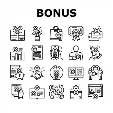 Bonus Present Of Sales Collection Icons Set Vector. Bonus Gift Box For Customer And Card, Contract And Flyer, Label Sale And Online Phone Application Black Contour Illustrations icon