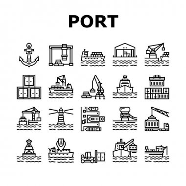 Container Port Tool Collection Icons Set Vector. Port Crane Loader For Loading Boxes On Ship And Storehouse, Buoy And Lighthouse, Delivery Service Black Contour Illustrations icon