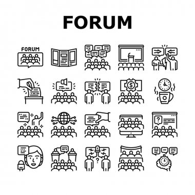 Forum People Meeting Collection Icons Set Vector. International And Business Online Forum, Public Debate And Hearing, Disputes And Vote, Black Contour Illustrations icon
