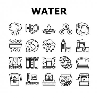Water Purification Collection Icons Set Vector. Filter And Purifying Equipment, Bottle And Cup, Ocean And Sea Water, World Renewal And Aquarium Black Contour Illustrations icon