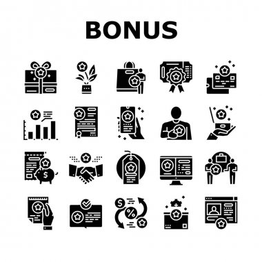 Bonus Present Of Sales Collection Icons Set Vector. Bonus Gift Box For Customer And Card, Contract And Flyer, Label Sale And Online Phone Application Glyph Pictograms Black Illustrations icon