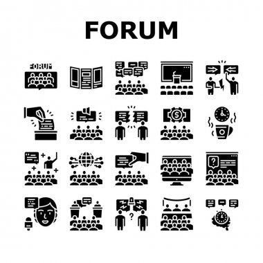 Forum People Meeting Collection Icons Set Vector. International And Business Online Forum, Public Debate And Hearing, Disputes And Vote, Glyph Pictograms Black Illustrations icon