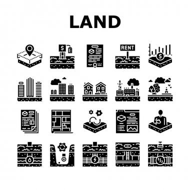 Land Property Business Collection Icons Set Vector. Land Rent And Sale, Residential Apartment And Estate, Public And Recreational Zone Glyph Pictograms Black Illustrations icon