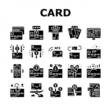Plastic Card Payment Collection Icons Set Vector. Contactless Nfc System Credit Card And Withdrawal, Pin Code Protection And Transfer Glyph Pictograms Black Illustrations icon