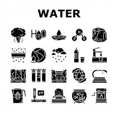 Water Purification Collection Icons Set Vector. Filter And Purifying Equipment, Bottle And Cup, Ocean And Sea Water, World Renewal And Aquarium Glyph Pictograms Black Illustrations icon