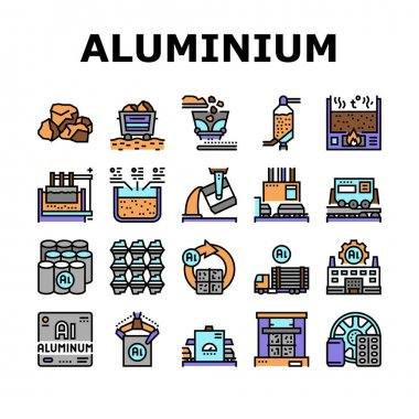 Aluminium Production Collection Icons Set Vector. Processing Of Aluminium Production And Factory, Pressing And Manufacture, Transportation And Carrying Concept Linear Pictograms. Contour Illustrations icon