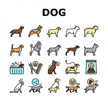 Dog Domestic Animal Collection Icons Set Vector. Yorkshire And Rottweiler, Beagle And French Bulldog, Golden Retriever And German Shepherd Dog Concept Linear Pictograms. Contour Illustrations icon