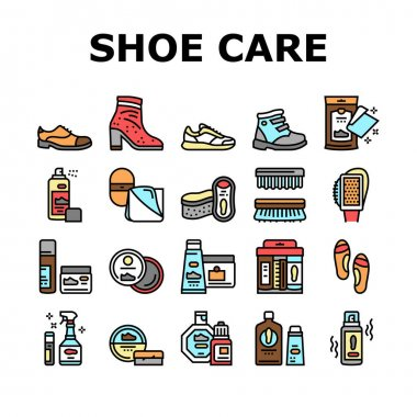 Shoe Care Accessories Collection Icons Set Vector. Leather And Velvet, Children And Everyday Shoe Care, Brush And Sponges, Polishing Tool Concept Linear Pictograms. Contour Illustrations icon