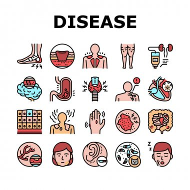 Disease Human Problem Collection Icons Set Vector. Epithelial Tissue And Toxoplasmosis, Ear Surgery And Cellulite, Skin Itch And Lymphoma Disease Concept Linear Pictograms. Contour Illustrations icon