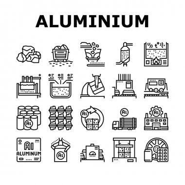 Aluminium Production Collection Icons Set Vector. Processing Of Aluminium Production And Factory, Pressing And Manufacture, Transportation And Carrying Black Contour Illustrations icon