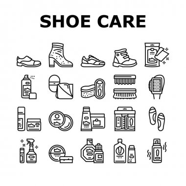 Shoe Care Accessories Collection Icons Set Vector. Leather And Velvet, Children And Everyday Shoe Care, Brush And Sponges, Polishing Tool Black Contour Illustrations icon
