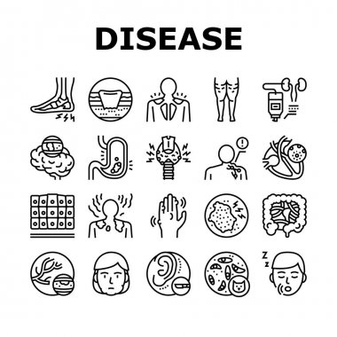 Disease Human Problem Collection Icons Set Vector. Epithelial Tissue And Toxoplasmosis, Ear Surgery And Cellulite, Skin Itch And Lymphoma Disease Black Contour Illustrations icon