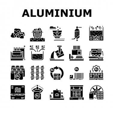 Aluminium Production Collection Icons Set Vector. Processing Of Aluminium Production And Factory, Pressing And Manufacture, Transportation And Carrying Glyph Pictograms Black Illustrations icon