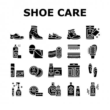 Shoe Care Accessories Collection Icons Set Vector. Leather And Velvet, Children And Everyday Shoe Care, Brush And Sponges, Polishing Tool Glyph Pictograms Black Illustrations icon