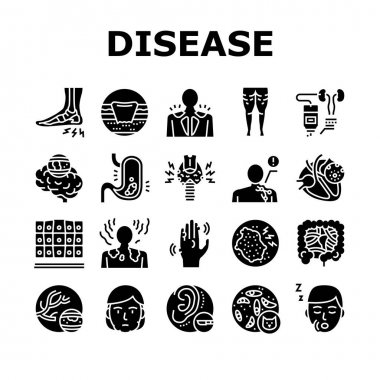 Disease Human Problem Collection Icons Set Vector. Epithelial Tissue And Toxoplasmosis, Ear Surgery And Cellulite, Skin Itch And Lymphoma Disease Glyph Pictograms Black Illustrations icon