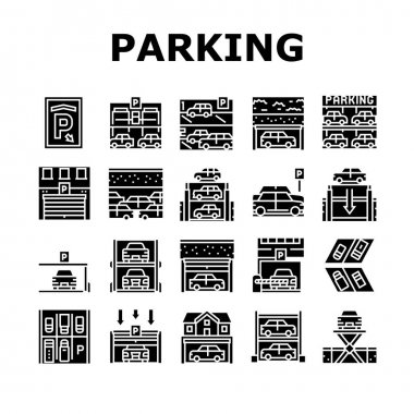 Underground Parking Collection Icons Set Vector. Underground Multilevel Parking Building, Barrier And Automatical Gate, Elevator Lifting Transport Glyph Pictograms Black Illustrations icon