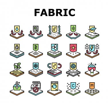Fabrics Properties Collection Icons Set Vector. Elastic And Stretched, Warm And Cool, Antibacterial And Breathable Fabrics Properties Concept Linear Pictograms. Contour Illustrations icon