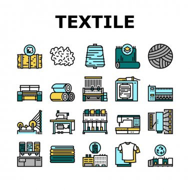 Textile Production Collection Icons Set Vector. Silk Thread And Clothing Textile Production, Sewing Machine And Factory Industrial Equipment Concept Linear Pictograms. Contour Illustrations icon