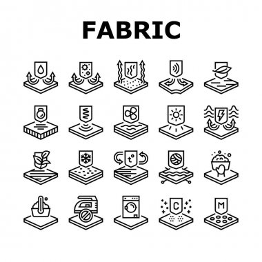 Fabrics Properties Collection Icons Set Vector. Elastic And Stretched, Warm And Cool, Antibacterial And Breathable Fabrics Properties Black Contour Illustrations icon
