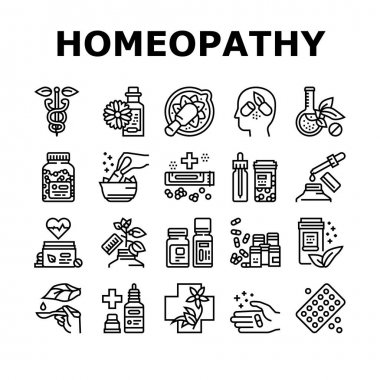 Homeopathy Medicine Collection Icons Set Vector. Medicaments And Vitamins Prepared From Natural Bio Plant, Homeopathy Pills And Drug Container Black Contour Illustrations icon