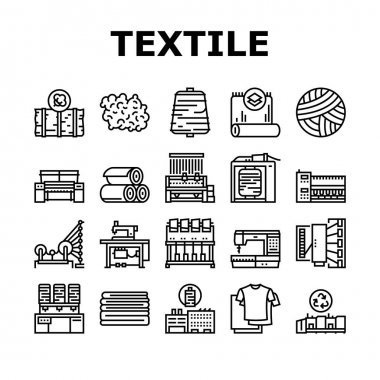 Textile Production Collection Icons Set Vector. Silk Thread And Clothing Textile Production, Sewing Machine And Factory Industrial Equipment Black Contour Illustrations icon
