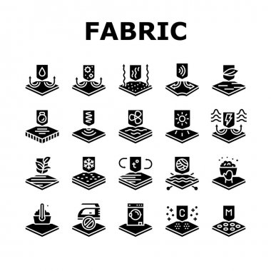 Fabrics Properties Collection Icons Set Vector. Elastic And Stretched, Warm And Cool, Antibacterial And Breathable Fabrics Properties Glyph Pictograms Black Illustrations icon