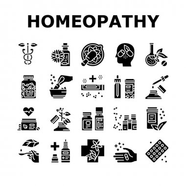 Homeopathy Medicine Collection Icons Set Vector. Medicaments And Vitamins Prepared From Natural Bio Plant, Homeopathy Pills And Drug Container Glyph Pictograms Black Illustrations icon