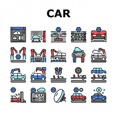 Car Factory Production Collection Icons Set Vector. Car Factory Equipment And Conveyor For Welding Parts And Installing Details, Crash And Airbag Test Concept Linear Pictograms. Contour Illustrations icon