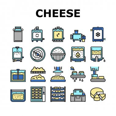 Cheese Production Collection Icons Set Vector. Cheese Preparing Factory Industrial Equipment And Refrigerator, Heating And Cheesemaking Machine Concept Linear Pictograms. Contour Illustrations icon