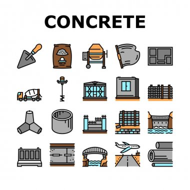 Concrete Production Collection Icons Set Vector. Road And Foundation Concrete, Cement Bag And Spatula Tool, Bridge And Airport Runway Building Concept Linear Pictograms. Contour Illustrations icon