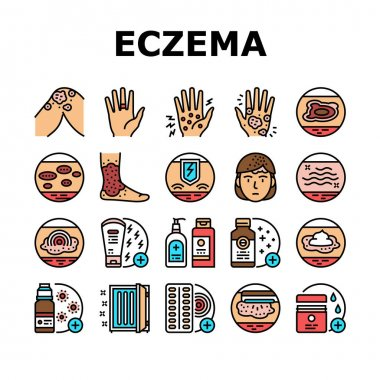 Eczema Disease Treat Collection Icons Set Vector. Nummular And Neurodermatitis Eczema Treatment, Dry Skin And Pain, Contact And Atopic Dermatitis. Concept Linear Pictograms. Contour Illustrations icon